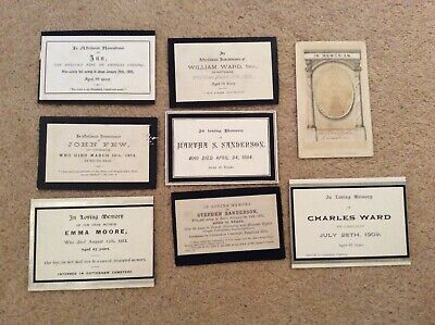 8 Vintage Memorial Cards Late 1800s early 1900s