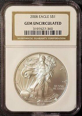 2008 American Eagle 1 oz .999 Fine Silver Bullion Coin NGC Gem Uncirculated NGC