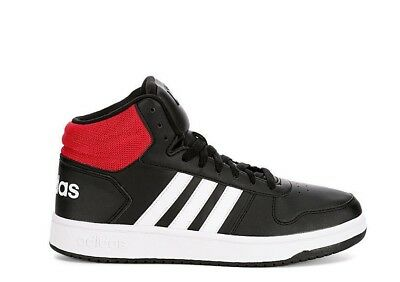 986e47e1ce2d Mens Adidas Hoops 2.0 Mid Basketball Shoes Size 7 7.5 8 Black White Red  DB0079