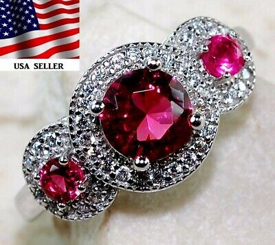 AAA Grade 2CT Ruby & White Topaz 925 Solid Sterling Silver Ring Jewelry Sz 8