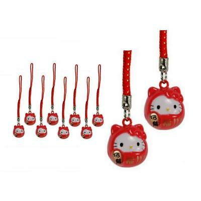 Lot Of 10 Hello Kitty Latón Bell Charm Suertudo Fortune Daruma Rojo
