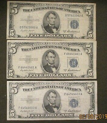 Lot of 3 Silver Certificate $5 Bills small blue seal you grade 1953A FV $15