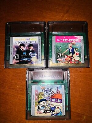 Gameboy Color Games Lot Mary Kate And Ashley Barbie Rugrats Tested & Works VG