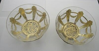 Pair of Mauser Cut Crystal & Sterling Dessert Bowls in Towel's Georgian pattern