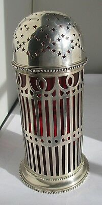 Dominick & Haff Large Sterling Silver & Ruby/Cranberry Glass Muffineer C. 1898