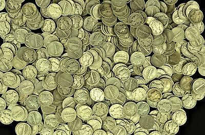 Lot of (100) Collectible Mercury Silver Dimes $10 Face Value (msdf)