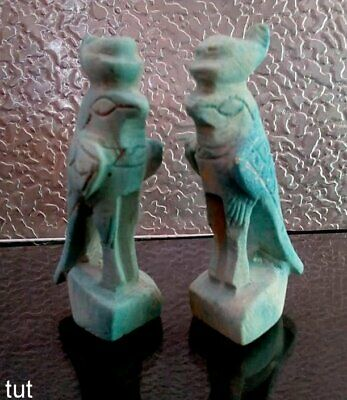 Rare ancient Egyptian blue faience bird amulet with hieroglyphics, 300 bc