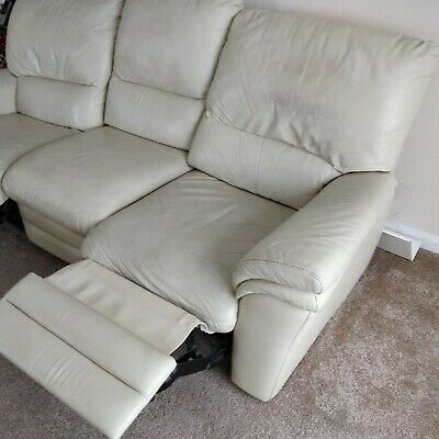 Awe Inspiring Leather Sofa Reduced Price 3 Recliner And 2 Seater Cream Pdpeps Interior Chair Design Pdpepsorg