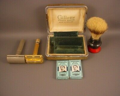 Old Lot of 6 Pieces Gillette 2 Blue Blades Case  England 2 Razors 1 Shave Brush