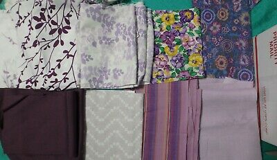 5 lb 9 oz Box of Fabric Scraps, Mostly Purples with assorted Florals   FSBTB33
