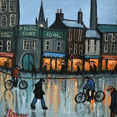 Attractive James Downie Original Oil Painting - The Shops (Northern Art)