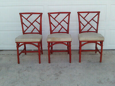 Vintage Set Of 3 Red Bamboo Chinese Chippendale Chairs