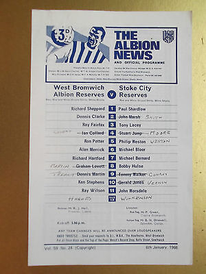 WEST BROMWICH ALBION RESERVES v STOKE CITY RESERVES.1968.CENTRAL LEAGUE.