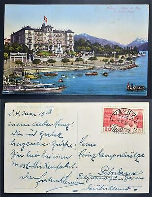SWITZERLAND 1938 VEVEY Hotel du Lac Col Pic PPC Card to GERMANY ,Suisse,Schweiz