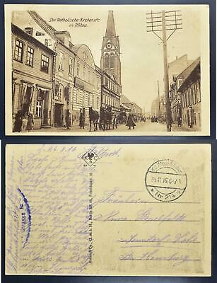 GERMANY in occupied LATVIA 1916 Mitau/Jelgava Street+Church Pic PPC to..,Latvija