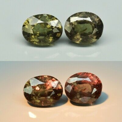 Pair 2pcs/1.18ct t.w 5x4mm Oval Natural Unheated Color Change Garnet, Africa
