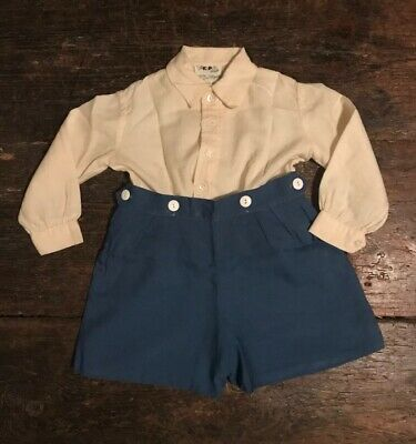 Vintage Boys Cream Shirt Buttons Yellow & Blue Shorts 12-18 Months Prince George