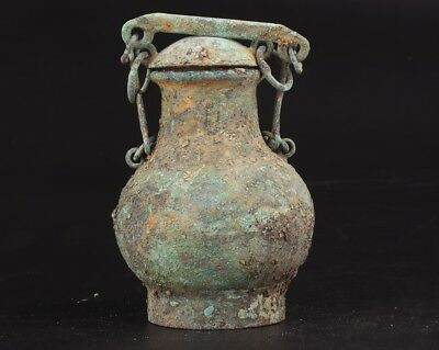 Vintage Chinese Bronze Pendant Wine Bottle Old Private Collec