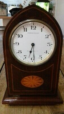 Antique Lancet Top Mahogany Mantel Clock - Greenwood, Huddersfield & Leeds Gwo.