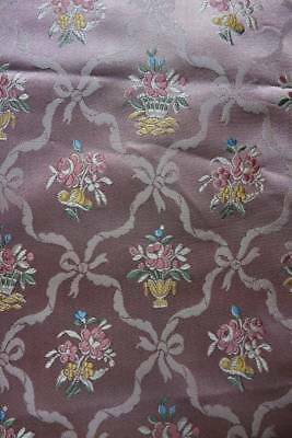Antique 1920's French Lyon silk brocaded lampas fabric - almost 1 yd