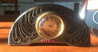 Antique Arts and Crafts Tramp Art Brevete Carved Wood Clock