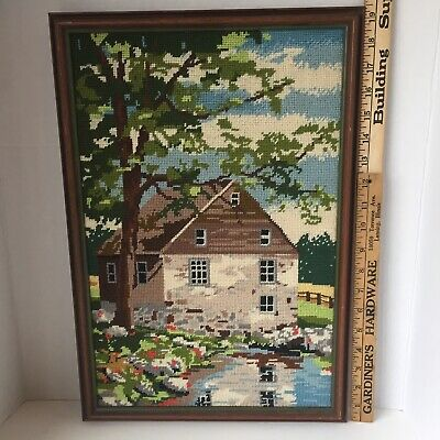 Vintage Finished Framed Needlepoint Country Home Garden Flowers