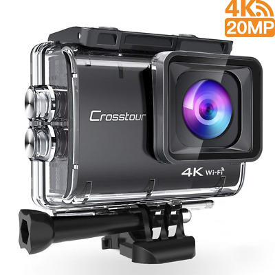 Crosstour Action Camera Real 4K UHD 20 mp Wifi Underwater Cam 40M with Eis...