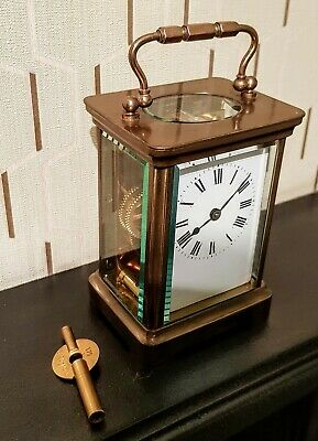 Beautiful Circa Late 19Th Century Acc French Brass 8 Day Carriage Clock