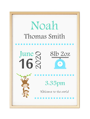 Personalised Christening Birth Keepsake Baby Gift Poster Print A4 PR5
