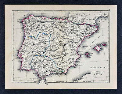1871 Classical Map - Ancient Hispania Roman Spain Portugal Baetica Lusitania