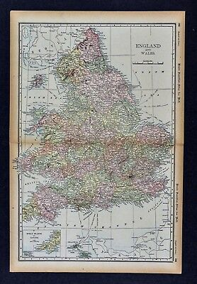 Lands End England Map.1891 Mcnally Map England Wales London Oxford Liverpool Bristol