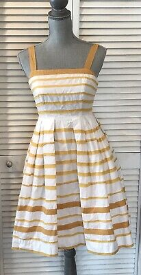 aed39ca21d727 ANTHROPOLOGIE MOULINETTE SOEURS Sun Shades Dress sz 0 2011 Unicorn Yellow  White