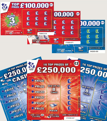 6 X World's Most Realistic - Fake Joke Winning Lottery Ticket Scratch Cards...