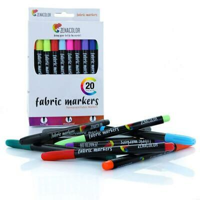 20 Zenacolor Textile and Cloth Markers - Non-Toxic, Indelible Permanent Fine...