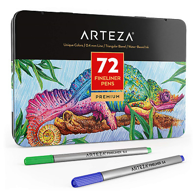 Arteza Fineliners Fine Point Pens, Set of 72 Tip Markers with 0.4mm Tips &...