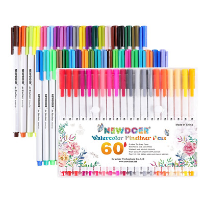 Newdoer 60 Packs Fine Line Coloured Pens- 0.4mm Fibre Tip Felt Pens -...
