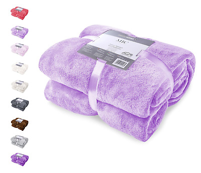 bd7361f54c LANGRIA SOFT FLUFFY Flannel Blanket Throw for Sofa Bed Winter Travel ...