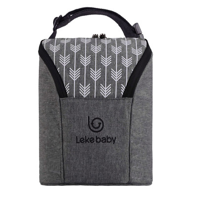 Lekebaby Double Baby Bottle Insulated Bag, Grey