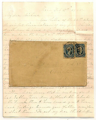 1865 CSN ARMSTRONG Confederate Navy LETTER/COVER CSA #12KB CHARLESTON SC