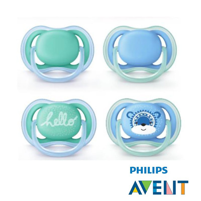 Philips AVENT Ultra Soft Air Dummy 2018 New – 6-18 months/Hello Boy; with 2...