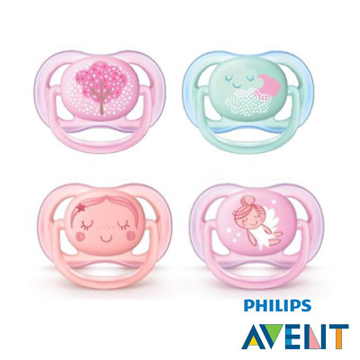 Philips Avent Ultra Air Dummy, 0-6 Months, Set of 4, Girl's, incl. 2...