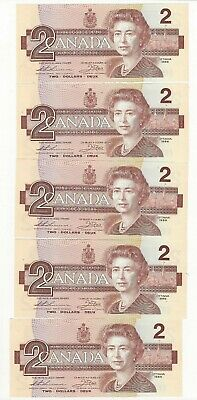 **1986**Canada $2 Note, Thiessen/Crow SN #EGR 0064136-40, 5 Cons.Notes  BC-55b-i