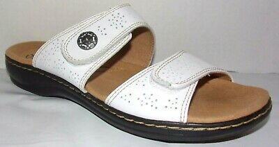 9dbfc68f23d CLARKS LEISA LACOLE White Leather Double Strap Comfort Slide Sandals ...