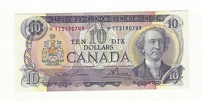 **1971**Canada $10 Note, Law/Bou BC-49cA, Ser# *TT 2190749 Replacement Note