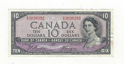 **1954 Devil's Face**Canada $10 Note, Beattie/Coyne BC-32b, Ser# GD 3030392