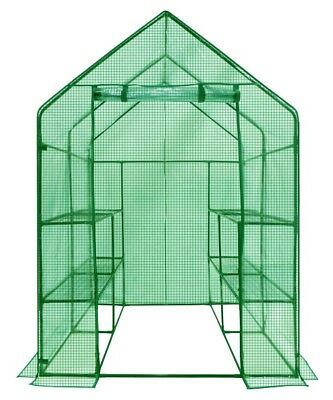 4 Tier 8 shelf Portable Outdoor Walk in Greenhouse with PE Cover Plant Gardening