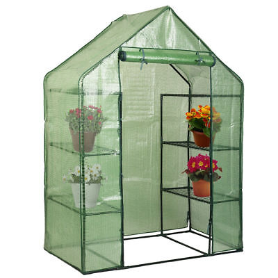 2 Tier 4 shelf Portable Outdoor Walk in Greenhouse with PE Cover Plant Gardening