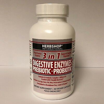 3 in 1 formula consist of Digestive Enzymes, Prebiotic and Probiotics 60 Count+