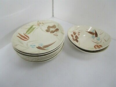 Vintage Red Wing Hand Painted Ceramic Ovenproof 144 Dinner Plates Bowls