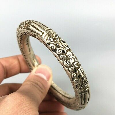 Chinese Antique Collectible Old Tibet Silver Handwork Plum Blossom Bracelet